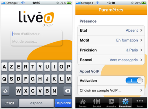 Appli iPhone liveo